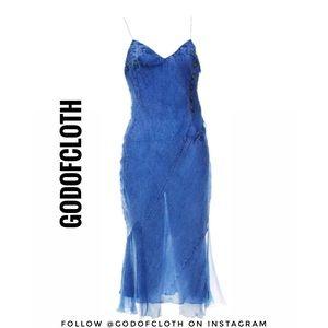 Dior Denim Pattern Silk Dress